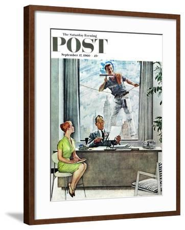 """Window Washer"" Saturday Evening Post Cover, September 17,1960-Norman Rockwell-Framed Giclee Print"