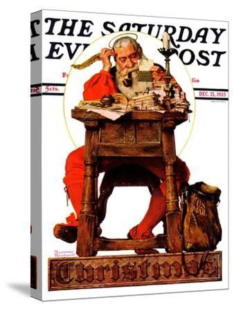 """Santa at His Desk"" Saturday Evening Post Cover, December 21,1935-Norman Rockwell-Stretched Canvas Print"