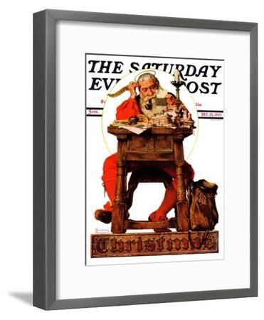 """Santa at His Desk"" Saturday Evening Post Cover, December 21,1935-Norman Rockwell-Framed Giclee Print"