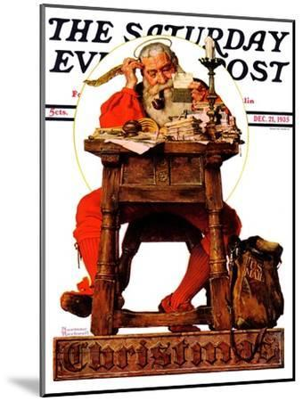 """Santa at His Desk"" Saturday Evening Post Cover, December 21,1935-Norman Rockwell-Mounted Giclee Print"