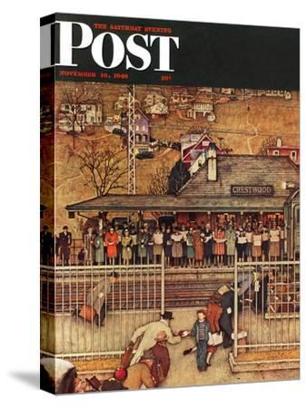 """""""Commuters"""" (waiting at Crestwood train station) Saturday Evening Post Cover, November 16,1946-Norman Rockwell-Stretched Canvas Print"""