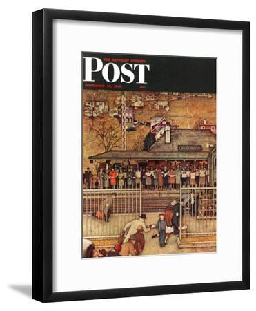 """""""Commuters"""" (waiting at Crestwood train station) Saturday Evening Post Cover, November 16,1946-Norman Rockwell-Framed Premium Giclee Print"""
