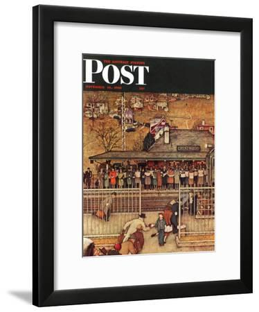 """""""Commuters"""" (waiting at Crestwood train station) Saturday Evening Post Cover, November 16,1946-Norman Rockwell-Framed Giclee Print"""