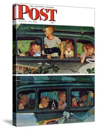 """""""Outing"""" or """"Coming and Going"""" Saturday Evening Post Cover, August 30,1947-Norman Rockwell-Stretched Canvas Print"""