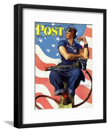 """Rosie the Riveter"" Saturday Evening Post Cover, May 29,1943-Norman Rockwell-Framed Giclee Print"