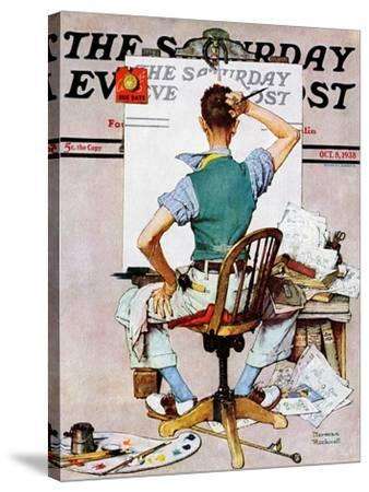"""""""Blank Canvas"""" Saturday Evening Post Cover, October 8,1938-Norman Rockwell-Stretched Canvas Print"""