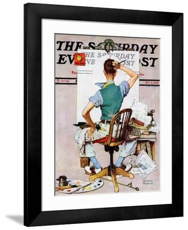 """""""Blank Canvas"""" Saturday Evening Post Cover, October 8,1938-Norman Rockwell-Framed Premium Giclee Print"""