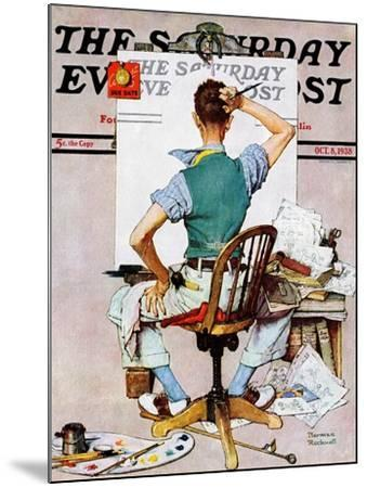 """""""Blank Canvas"""" Saturday Evening Post Cover, October 8,1938-Norman Rockwell-Mounted Premium Giclee Print"""