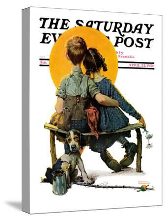 """""""Little Spooners"""" or """"Sunset"""" Saturday Evening Post Cover, April 24,1926-Norman Rockwell-Stretched Canvas Print"""
