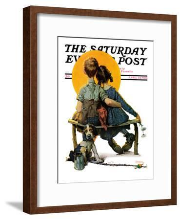 """""""Little Spooners"""" or """"Sunset"""" Saturday Evening Post Cover, April 24,1926-Norman Rockwell-Framed Premium Giclee Print"""