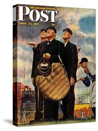 """Bottom of the Sixth""  (Three Umpires) Saturday Evening Post Cover, April 23,1949-Norman Rockwell-Stretched Canvas Print"