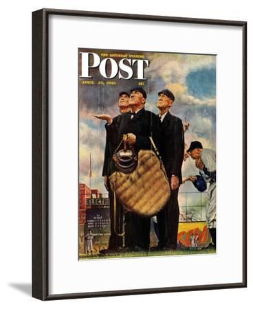 """Bottom of the Sixth""  (Three Umpires) Saturday Evening Post Cover, April 23,1949-Norman Rockwell-Framed Giclee Print"