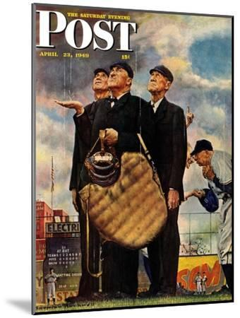 """Bottom of the Sixth""  (Three Umpires) Saturday Evening Post Cover, April 23,1949-Norman Rockwell-Mounted Giclee Print"