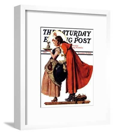 """Mistletoe Kiss"" or ""Feast for a Traveler"" Saturday Evening Post Cover, December 19,1936-Norman Rockwell-Framed Giclee Print"