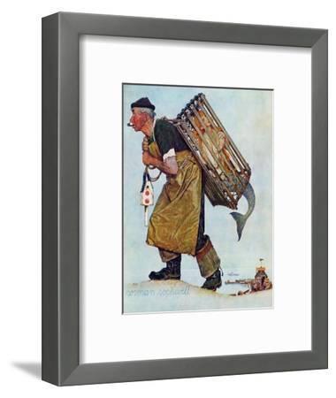 """""""Mermaid"""" or """"Lobsterman"""", August 20,1955-Norman Rockwell-Framed Premium Giclee Print"""