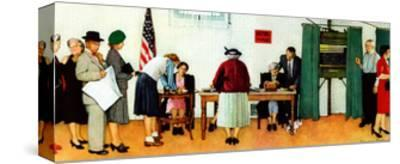 """""""Norman Rockwell Paints America at the Polls"""", November 4,1944-Norman Rockwell-Stretched Canvas Print"""