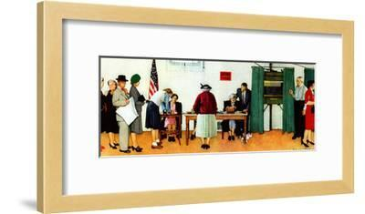 """""""Norman Rockwell Paints America at the Polls"""", November 4,1944-Norman Rockwell-Framed Giclee Print"""