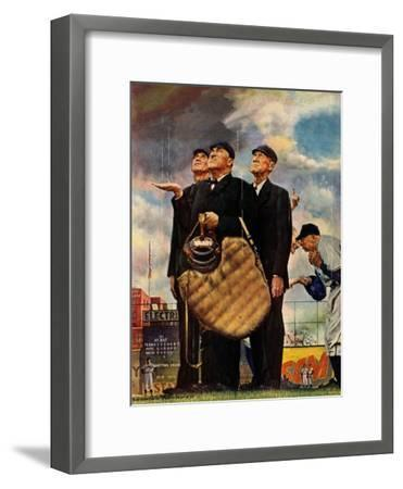 Tough Call - Bottom of the Sixth (Three Umpires), April 23, 1949-Norman Rockwell-Framed Premium Giclee Print