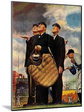 Tough Call - Bottom of the Sixth (Three Umpires), April 23, 1949-Norman Rockwell-Mounted Premium Giclee Print