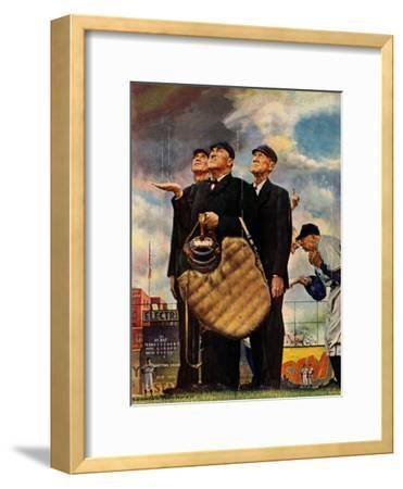 Tough Call - Bottom of the Sixth (Three Umpires), April 23, 1949-Norman Rockwell-Framed Giclee Print