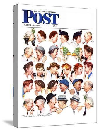"""""""Chain of Gossip"""" Saturday Evening Post Cover, March 6,1948-Norman Rockwell-Stretched Canvas Print"""