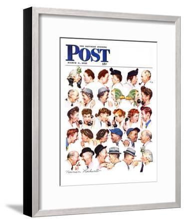 """""""Chain of Gossip"""" Saturday Evening Post Cover, March 6,1948-Norman Rockwell-Framed Premium Giclee Print"""