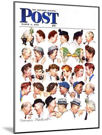 """""""Chain of Gossip"""" Saturday Evening Post Cover, March 6,1948-Norman Rockwell-Mounted Premium Giclee Print"""