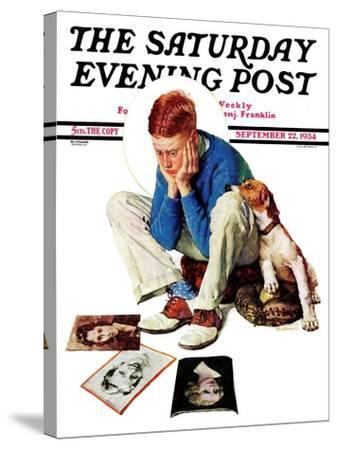 """""""Boy Gazing at Cover Girls"""" Saturday Evening Post Cover, September 22,1934-Norman Rockwell-Stretched Canvas Print"""