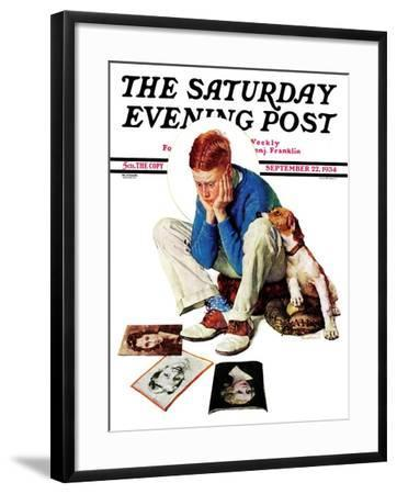 """""""Boy Gazing at Cover Girls"""" Saturday Evening Post Cover, September 22,1934-Norman Rockwell-Framed Giclee Print"""