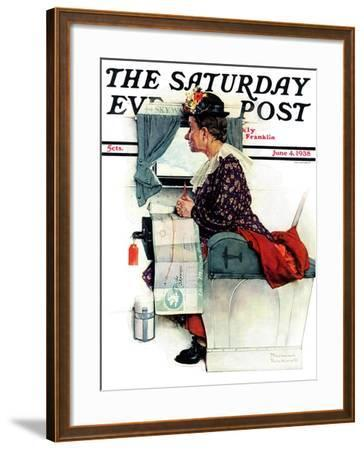 """""""Airplane Trip"""" or """"First Flight"""" Saturday Evening Post Cover, June 4,1938-Norman Rockwell-Framed Giclee Print"""