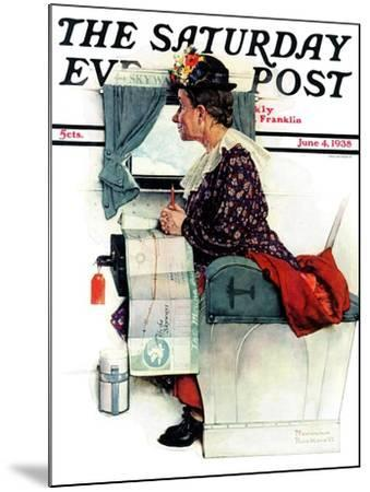 """""""Airplane Trip"""" or """"First Flight"""" Saturday Evening Post Cover, June 4,1938-Norman Rockwell-Mounted Giclee Print"""