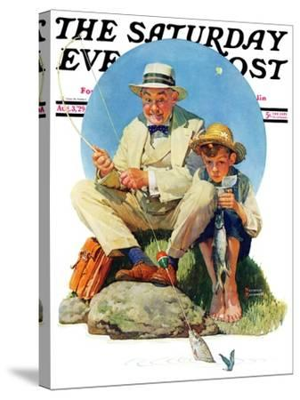 """""""Catching the Big One"""" Saturday Evening Post Cover, August 3,1929-Norman Rockwell-Stretched Canvas Print"""