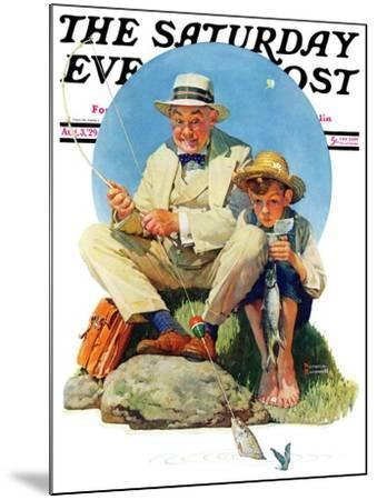 """""""Catching the Big One"""" Saturday Evening Post Cover, August 3,1929-Norman Rockwell-Mounted Giclee Print"""
