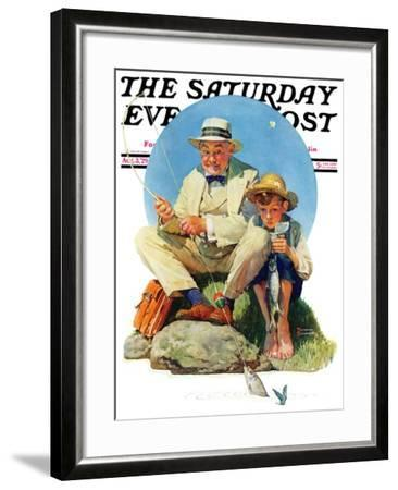 """""""Catching the Big One"""" Saturday Evening Post Cover, August 3,1929-Norman Rockwell-Framed Giclee Print"""