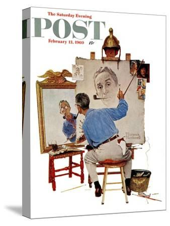 """""""Triple Self-Portrait"""" Saturday Evening Post Cover, February 13,1960-Norman Rockwell-Stretched Canvas Print"""