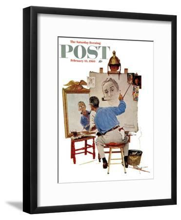 """""""Triple Self-Portrait"""" Saturday Evening Post Cover, February 13,1960-Norman Rockwell-Framed Premium Giclee Print"""