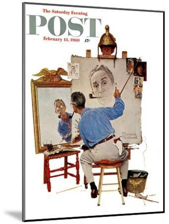"""""""Triple Self-Portrait"""" Saturday Evening Post Cover, February 13,1960-Norman Rockwell-Mounted Premium Giclee Print"""
