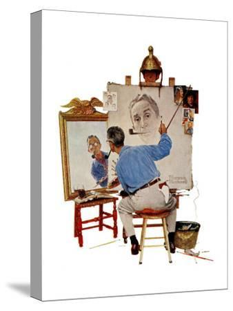 """Triple Self-Portrait"", February 13,1960-Norman Rockwell-Stretched Canvas Print"