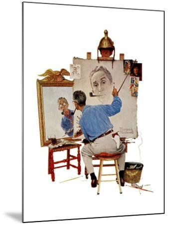 """Triple Self-Portrait"", February 13,1960-Norman Rockwell-Mounted Premium Giclee Print"