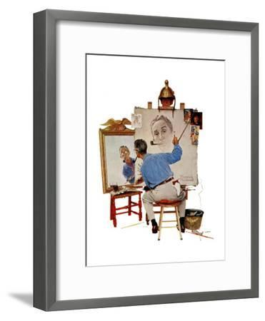 """Triple Self-Portrait"", February 13,1960-Norman Rockwell-Framed Giclee Print"