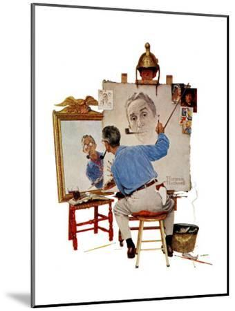 """Triple Self-Portrait"", February 13,1960-Norman Rockwell-Mounted Giclee Print"