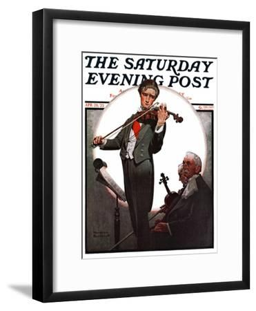"""Violin Virtuoso"" Saturday Evening Post Cover, April 28,1923-Norman Rockwell-Framed Giclee Print"