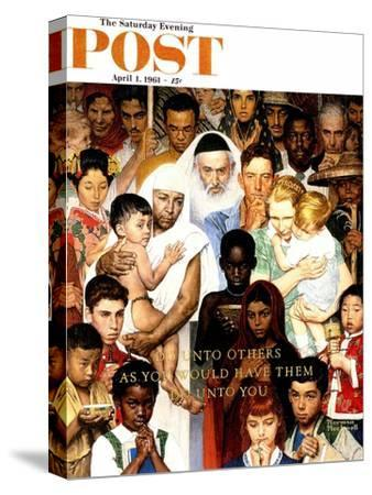 """""""Golden Rule"""" (Do unto others) Saturday Evening Post Cover, April 1,1961-Norman Rockwell-Stretched Canvas Print"""