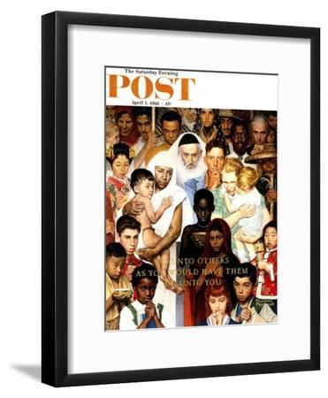 """""""Golden Rule"""" (Do unto others) Saturday Evening Post Cover, April 1,1961-Norman Rockwell-Framed Premium Giclee Print"""
