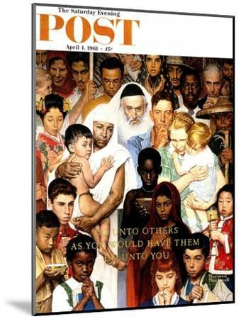 """""""Golden Rule"""" (Do unto others) Saturday Evening Post Cover, April 1,1961-Norman Rockwell-Mounted Premium Giclee Print"""