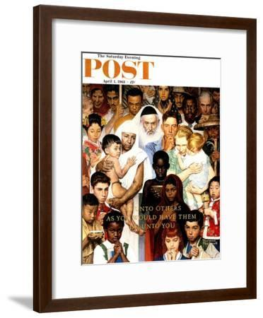 """""""Golden Rule"""" (Do unto others) Saturday Evening Post Cover, April 1,1961-Norman Rockwell-Framed Giclee Print"""
