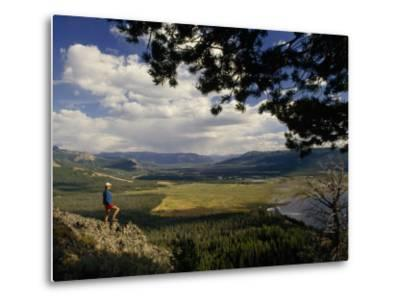 A Hiker Looks over the Teton Wilderness Area, Wyoming-Raymond Gehman-Metal Print