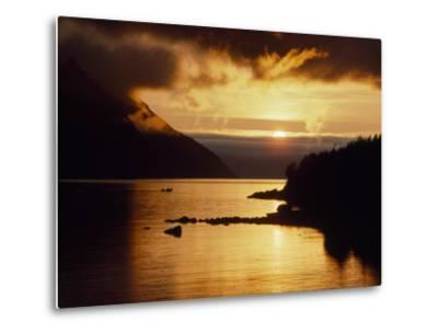 Cloud-Filtered Sunset Silhouettes a Boat on the Sheltered Waters of Bonne Bay-Raymond Gehman-Metal Print