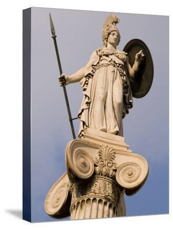 A Statue of Athena on a Column Outside the Academy of Athens-Richard Nowitz-Stretched Canvas Print