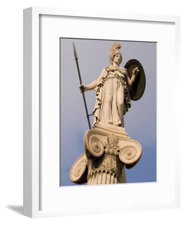 A Statue of Athena on a Column Outside the Academy of Athens-Richard Nowitz-Framed Photographic Print